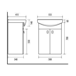 RIVA, vonios kambario baldai, vonios spintele, SA55-11, praustuvas, Riva55