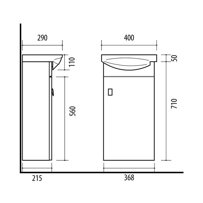 RIVA, vonios kambario baldai, spintelė su praustuvu, SA40-11, praustuvas, Riva40