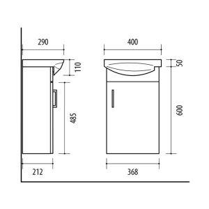 RIVA, vonios kambario baldai, spintelė su praustuvu, SA40-18A, praustuvas, Riva40