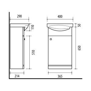 RIVA, vonios kambario baldai, spintelė su praustuvu, SA40, praustuvas, Riva40