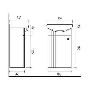 Riva vonios kambario baldai, vonios spintelė su praustuvu, SA44, su praustuvu RIVA45