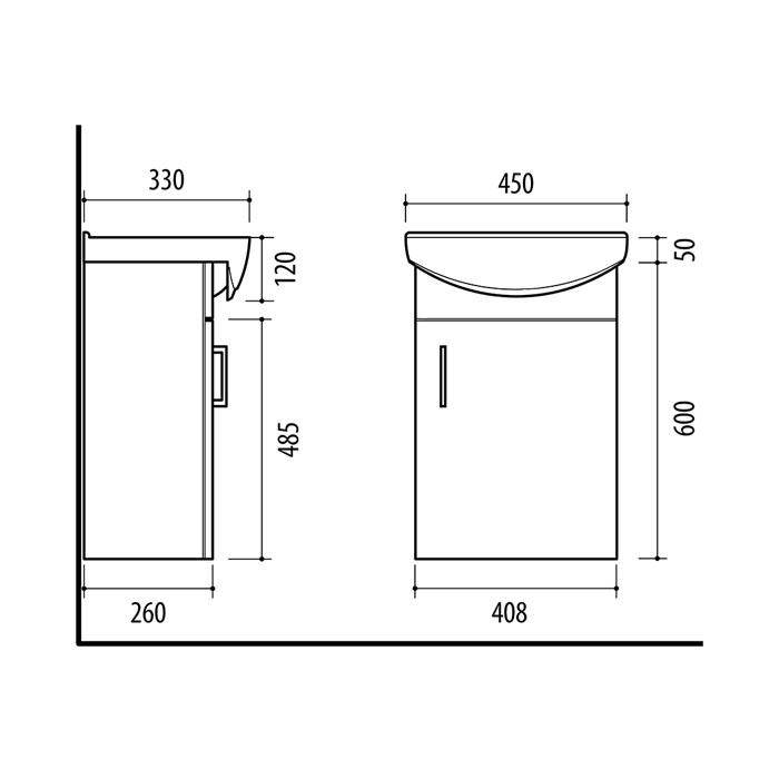 RIVA, vonios kambario baldai, spintelė su praustuvu, SA45-18, praustuvas, Riva45