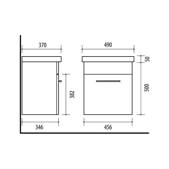 Riva vonios kambario baldai, pakabinama spintelė, su stalčiumi, SA49C-19A, su praustuvu RIVA50C arba RIVA50C-1