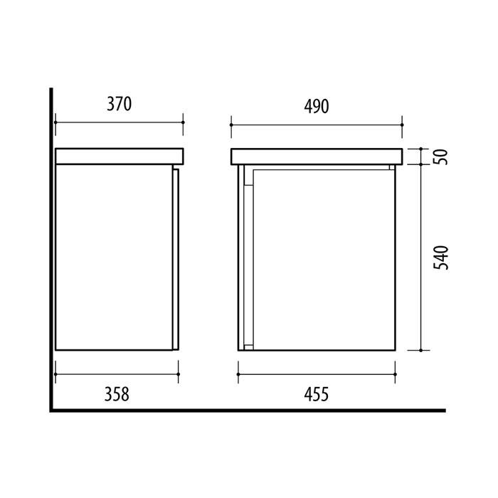 Riva vonios kambario baldai, vonios spintele, SA50A-5E, su praustuvu RIVA50C arba RIVA50C-1