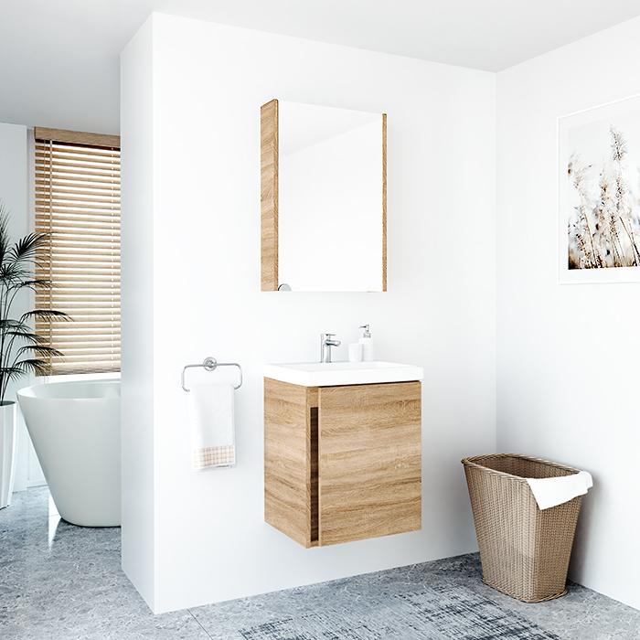 RIVA, vonios kambario baldai, vonios spintelė, SV50A-5E, spintelė su praustuvu, SA50A-5E, praustuvas RIVA50C-1, RIVA50C