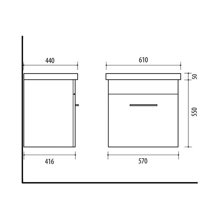 RIVA vonios kambario baldai, vonios spintelė, SA60C-2