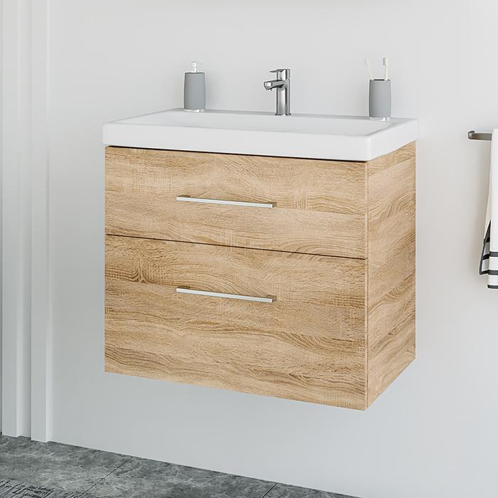Riva vonios kambario baldai, pakabinama, spintelė su praustuvu, vonios spintele, SA63-2, su praustuvu Riva63C