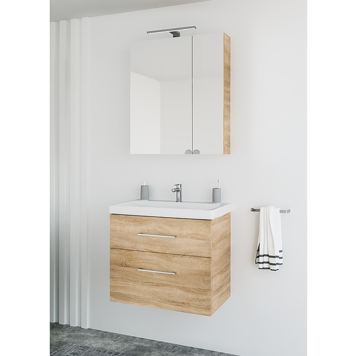 Riva vonios kambario baldai, veidrodinė spintelė, SV60C-2, spintelė su praustuvu, vonios spintelė, SA63-2, su praustuvu Riva63C