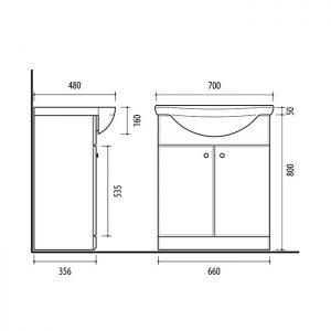 Riva vonios kambario baldai, spintelė su praustuvu, SA70, praustuvas RIVA70A