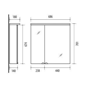 RIVA, vonios kambario baldai, vonios spintelė, SV70C