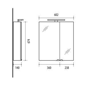 RIVA vonios kambario baldai, veidrodinė spintelė, SV60C-2 Sonoma Oak