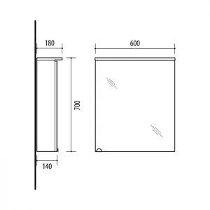 RIVA vonios kambario baldai, vonios spintelė, SV60C Sonoma Oak, SV60C-2 Balta