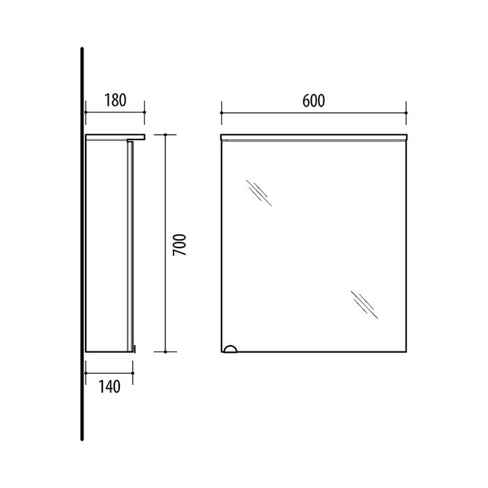 Riva-vonios-kambario-baldai-vonios-spintele-su-veidrodinem-durelem-integruotu-LED-apsvietimu-ir-kistukiniu-lizdu-SV60C-2-Balta, SV60C Sonoma Oak