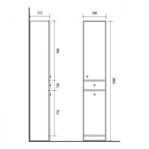 RIVA, vonios kambario baldai, vonios spintele, SU36-1