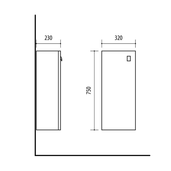 Riva vonios kambario baldai, pakabinama spintelė, su durelėm, UA32-11