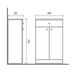 Riva vonios kambario baldai, pastatoma vonios spintelė, su dviem durelėm ir stalčiumi UA59-1