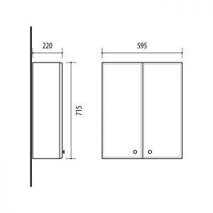 Riva vonios kambario baldai, pakabinama spintelė, su dviem durelėm, UV59-2
