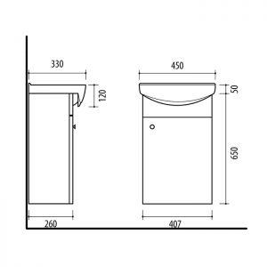 Riva vonios kambario baldai, spintelė su praustuvu, SA45DZ, su praustuvu RIVA45