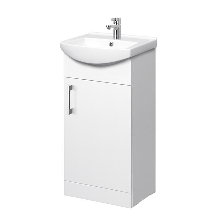 Riva vonios kambario baldai, pastatoma spintelė, su durelėm, SA45FS, su praustuvu RIVA45