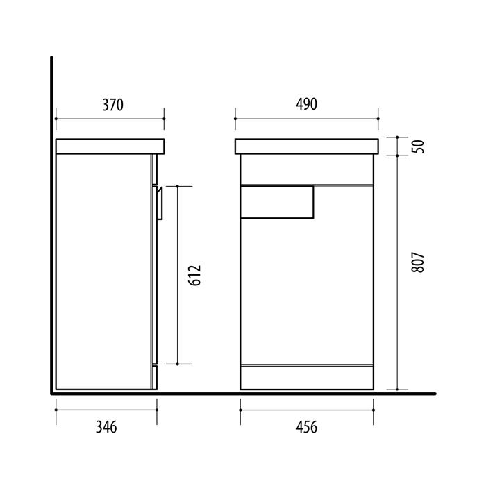 Riva vonios kambario baldai, pastatoma vonios spintelė, su durelėm, SA49C-22, su praustuvu RIVA50C arba RIVA50C-1