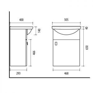 Riva vonios kambario baldai, spintelė su praustuvu, SA50A-11 Sonoma Oak, su praustuvu RIVA50A