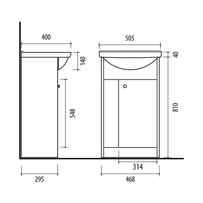 Riva vonios kambario baldai, pastatoma spintelė, su durelėm, SA50A-2, su praustuvu RIVA50A
