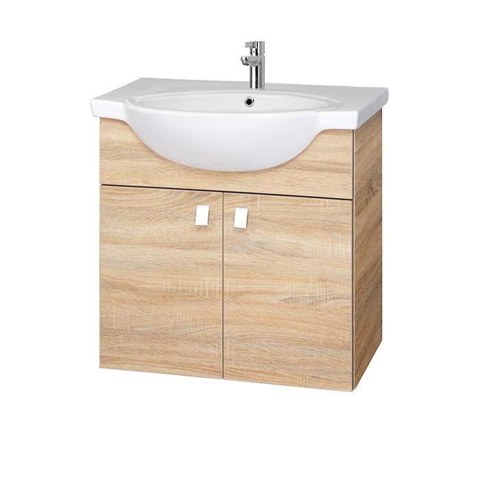 Riva vonios kambario baldai, vonios spintelė, SA70-11 Sonoma Oak, su praustuvu RIVA70A