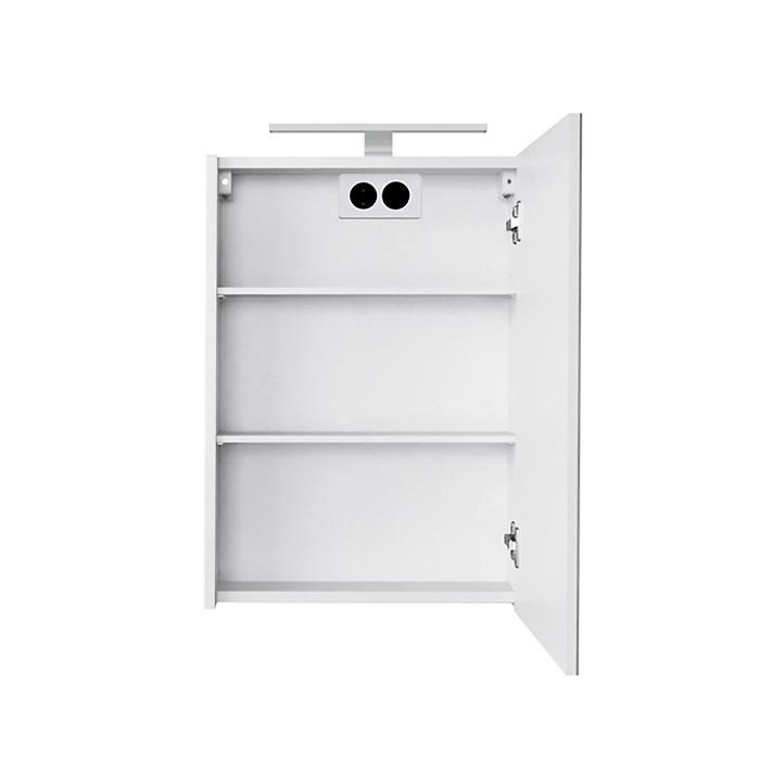 Riva vonios kambario baldai, veidrodinė spintelė, su veidrodinėm durelėm, LED šviestuvėliu, kištukiniu lizdu, SV45DZ