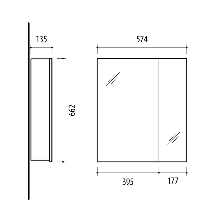 Riva vonios kambario baldai, vonios spintelė, su veidrodinėm durelėm, SV57-1