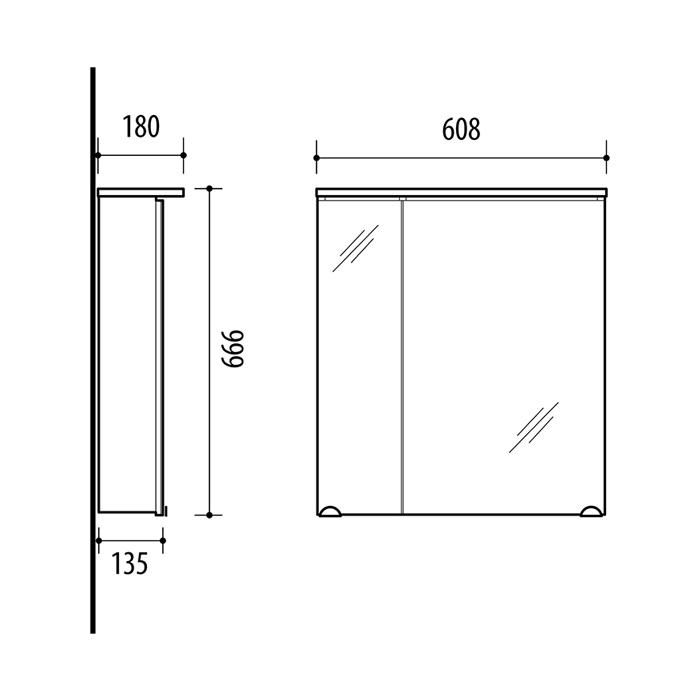 Riva vonios kambario baldai, vonios spintelė, su dviem durelėm, LED apšvietimu, SV60-8 Sonoma Oak