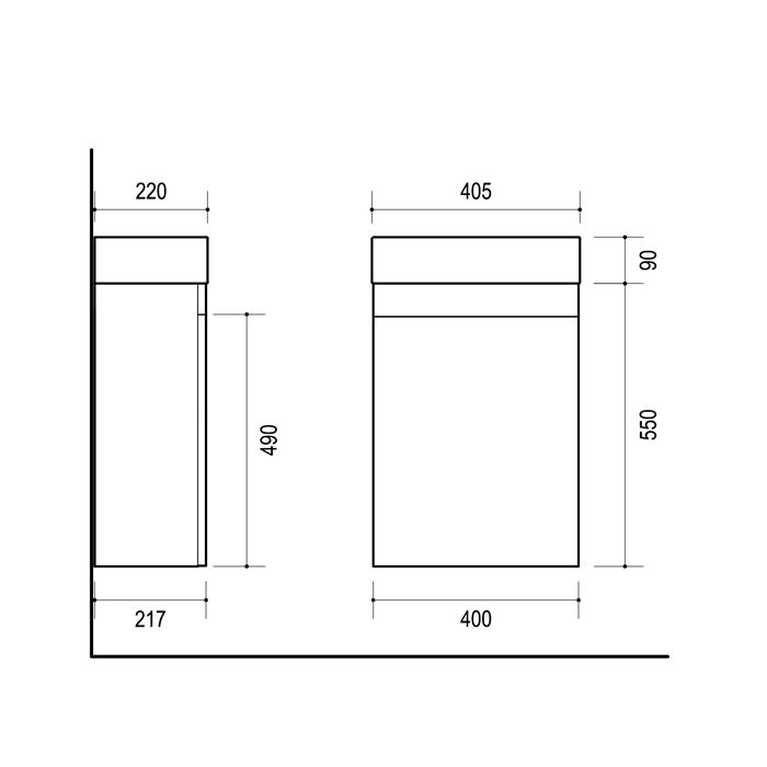 Vonios spintelė, SA40L (D), su praustuvu