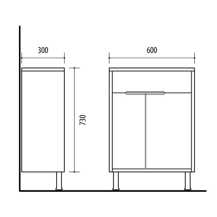 Riva vonios kambario baldai, pastatoma spintelė, su durelėm ir stalčiumi, UA60-3 Alyvmedis