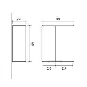 Riva vonios kambario baldai, pakabinama spintelė, UV60-3 Alyvmedis