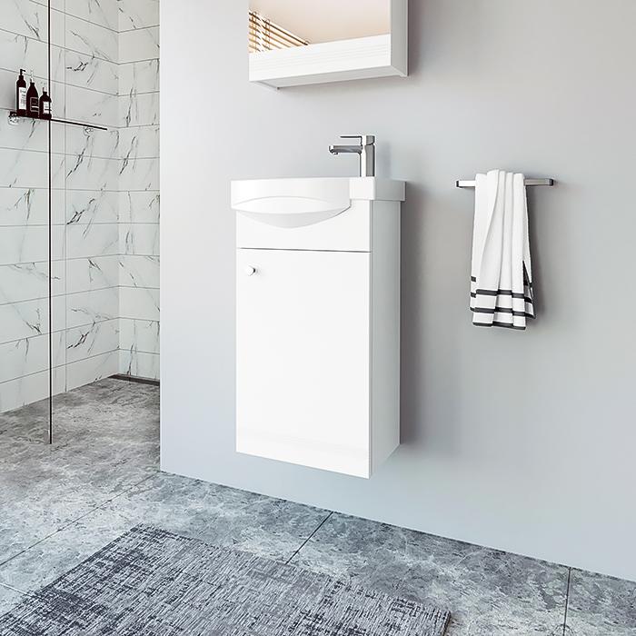 Riva, vonios kambario baldai, pakabinama vonios spintelė su praustuvu, SA40, praustuvas RIVA40