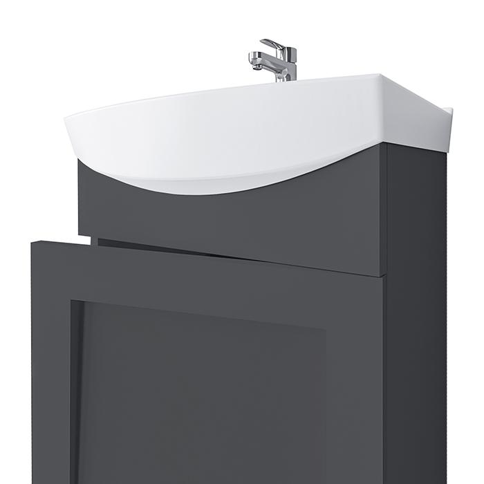 Riva vonios kambario baldai, pakabinama, spintelė su praustuvu, SA45F, praustuvas RIVA45