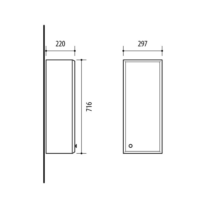Riva vonios kambario baldai, pakabinama spintelė, su vienom durelėm, UV30-2