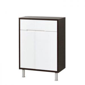 Riva vonios kambario baldai, vonios spintelė, su durelėm ir stalčiumi, UA60-3 Tamsus Ąžuolas